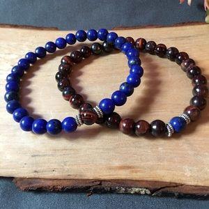 Jewelry - Blue Lapis and red tigereye Bracelet set